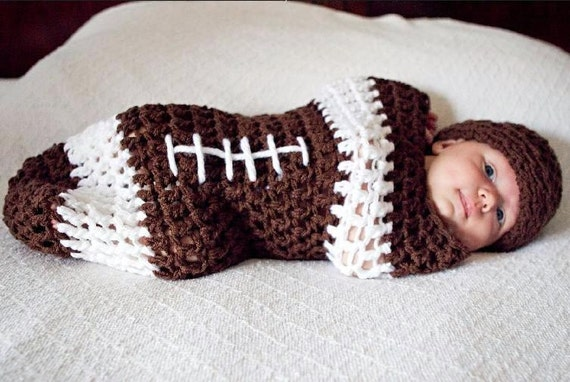 Newborn Baby NFL Football Cocoon Hat Set