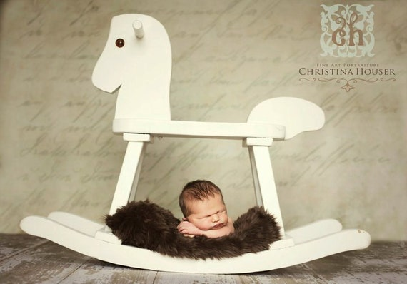 Chocolate Brown Mongolian Faux Fur Nest Photography Prop Rug Newborn Baby Toddler 27x30