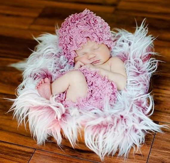 Frosted Hot Pink Mongolian Faux Fur Rug Nest Photography Photo Prop 27x20 Newborn Baby Toddler Mat