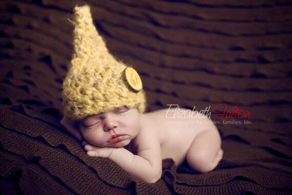 Newborn Baby Gnome Hat Fuzzy Beige Elf