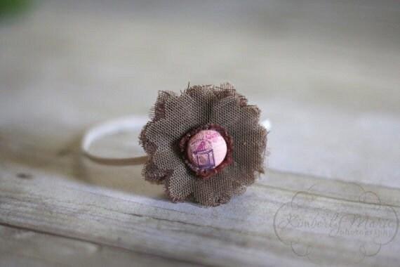 Shabby Brown Fabric Veil Flower Headband