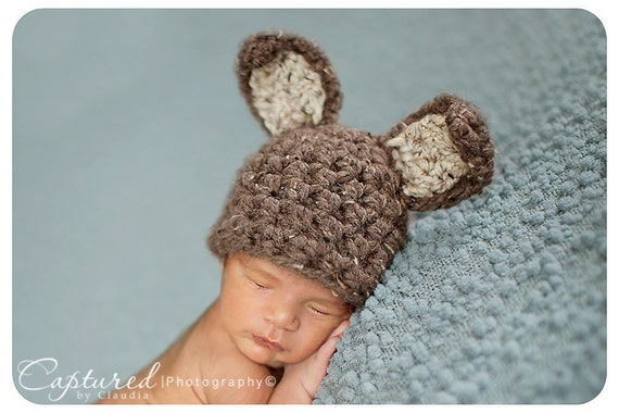 Brown Bunny Hat Newborn Baby Easter