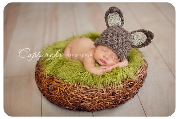 Brown Beige Bunny Hat Newborn Baby