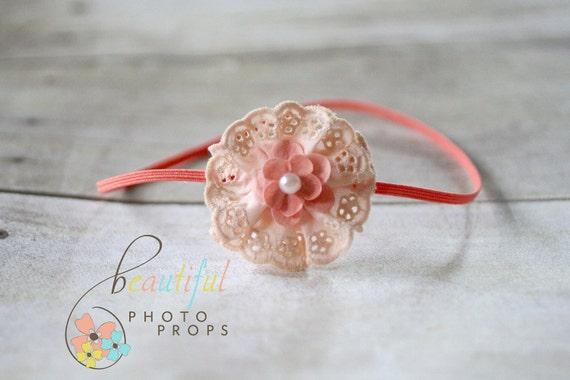 Coral Pink Headband Lace Flower Skinny OOAK