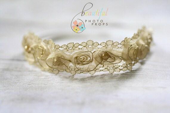 Pearl Fairy Halo Flower Headband in Gold
