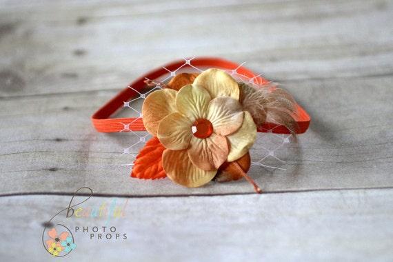 Orange Feather Veil Flower Headband
