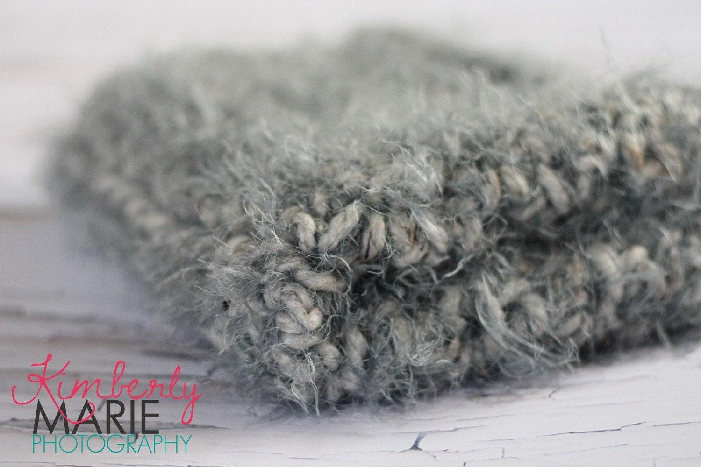 Soft Gray Grey Fur Newborn Baby Blanket Photo Prop
