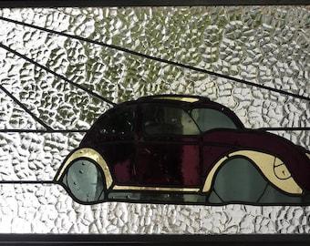 Stained Glass Panel - Volkswagen Beetle Summer - Suncatcher Window