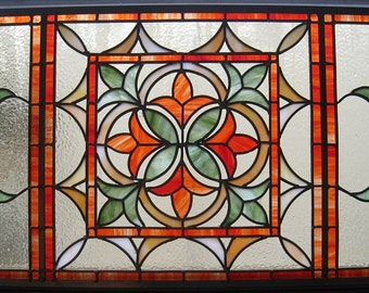 Stained Glass Panel - Orange Fleur de Lis - Window Suncatcher