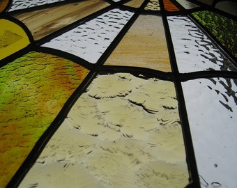 Stained Glass Panel Spider Web Suncatcher Window