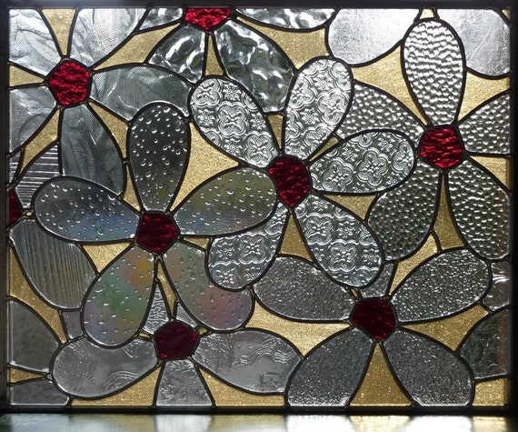 Stained Glass Daisy Panel