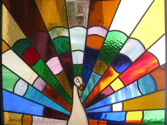 Stained Glass Panel - Rainbow Peacock - Window Suncatcher