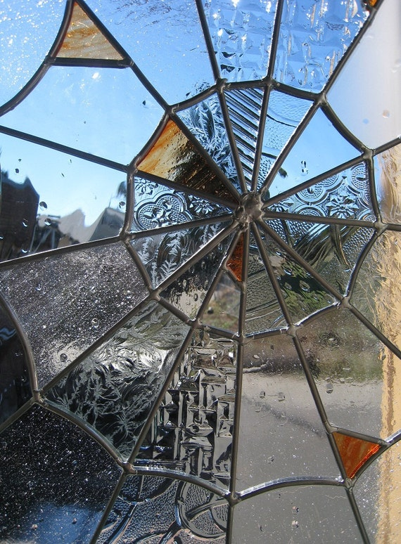 SALE - - Stained Glass Spider Web Orange