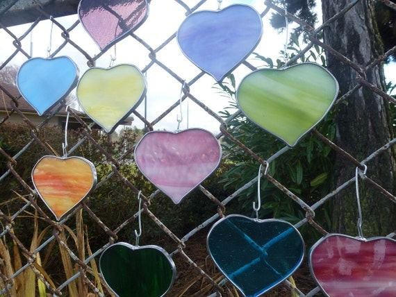 Stained Glass Heart Suncatchers Valentines Ornaments Decoration