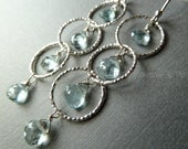 LAST ONE - Aquamarine briolette gemstone on 3 ring bright sparkly silver dangle earrings. Free shipping. Icy white. Silver fashion