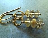 SALE Gold rutilated Quartz earrings on double twisted 14k gold rings earrings