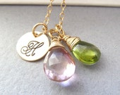 Personalized initial charm necklace. Custom stone. Weddings. Bridal jewelry. Bridesmaids. Monogrammed jewelr