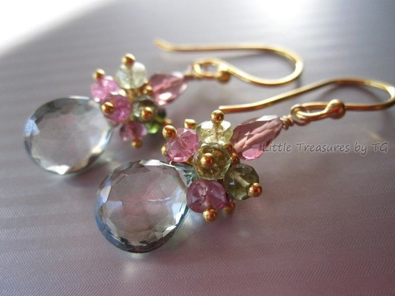 LAST PAIR - Pale green quartz with watermelon tourmaline earrings in 24k gold vermeil