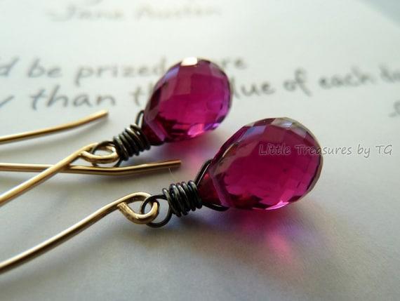 SALE - Dark raspberry pink hydro quartz microfaceted briolette on 14k gold filled long earwire