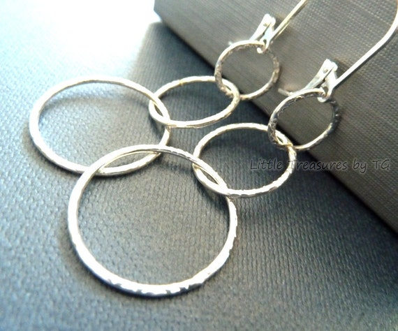 3 silver textured rings hoop earrings on sterling silver leverback