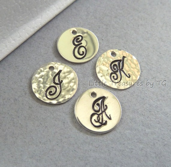 """RESERVED - ADD on Personalized Initial sterling silver charm disc 3/8"""" (10mm). Hammered or Plain Charm ONLY"""