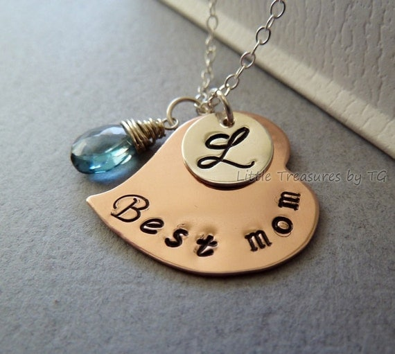 Reserved - Best mom - Personalized Initial Stamped Copper and Silver necklace name, initial, phrase Custom personalized birthstone
