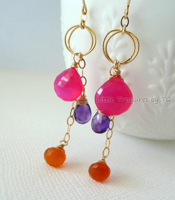 Hot pink Chalcedony purple Amethyst orange Carnelian gold earrings Handmade modern Neon jewelry wire wrapped Trendy Neon earrings