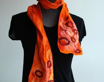 SALE hand felted silk scarf 'happylucky'