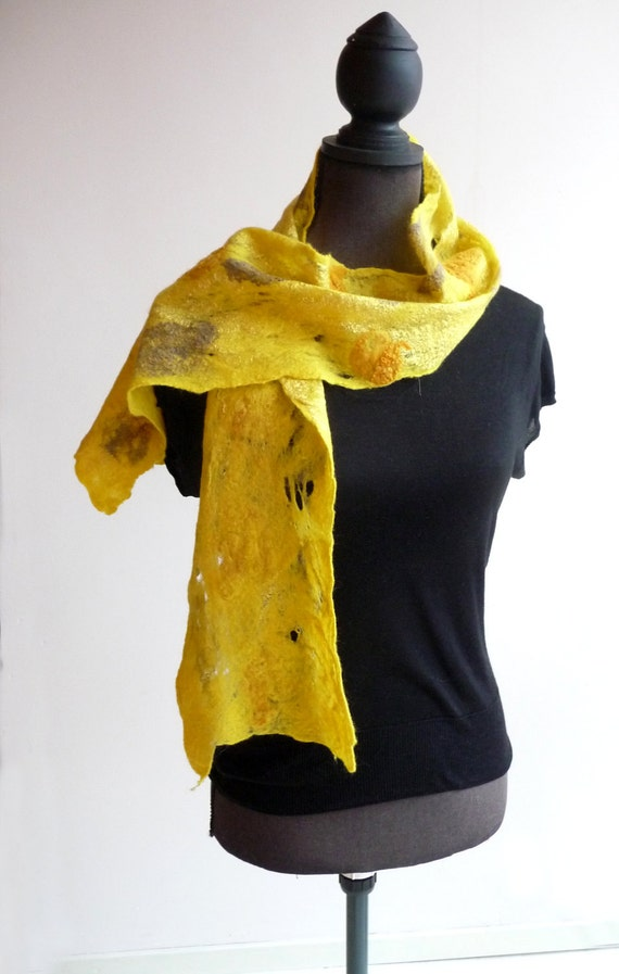 SALE yellow cobweb felted scarf 'sunflower'
