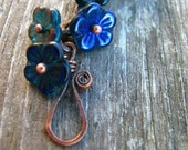 Shadow of the Forest -czech glass flower and antiqued copper tone bracelet