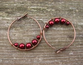 Red Bilberry - antiqued copper tone and Czech glass hoop earrings
