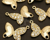 AC-346-GD / 2 Pcs - Bejewel Butterfly Connector, 16K Gold Plated over Brass / 16mm x 16mm