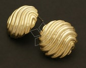 SI-346-MG / 2 Pcs - Wave Pattern Bawl Earring Findings, Matte Gold Plated over Brass Body with .925 Sterling Silver Post / 20mm