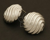SI-345-MS / 2 Pcs - Wave Pattern Bawl Earring Findings, Matte Silver Plated over Brass Body with .925 Sterling Silver Post / 20mm