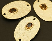 AC-345-MG / 2 Pcs - Gem Oval Connector (Champagne Gold), Matte Gold Plated over Brass / 19mm x 28mm
