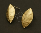 SI-311-MG / 2 Pcs - Pine Nut Shell Motif Earring Findings, Matte Gold Plated over Brass Body with .925 Sterling Silver Post / 9mm x 17mm