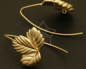 EA-057-MG / 2 Pcs - Autumn Leaves Hook Ear Wires, Matte Gold Plated over Brass / 20mm x 28mm