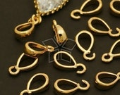 PS-054-GD / 10 Pcs - Simple and Mini Pendant bail, 16K Gold Plated over Brass / 2.3mm x 8.3mm