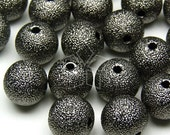 ME-026-BL / 6 Pcs - Sanding Bead, Black Plated over Brass / 10mm