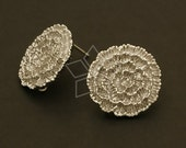 SI-432-MS / 2 Pcs - Marigold Flower Earrings, Matte Silver Plated, with .925 Sterling Silver Post / 17mm