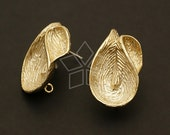 SI-462-GD / 2 Pcs - Orchid Flora Earrings, Gold (Soft Luster) Plated, with .925 Sterling Silver Post / 15mm x 25mm