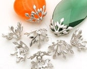 CP-031-MS / 2 Pcs - Laurel Leaf Bead Cap (Free Size), Matte Silver Plated over Brass / 8mm x 10mm