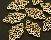 AC-214-MG / 4 Pcs - Paisley Pattern Connector, Matte Gold Plated over Pewter / 10mm x 18mm