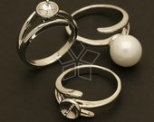 RR-006-OR / 2 Pcs - 7mm Pearl Cup Ring Base (Adjustable), Silver Plated over Brass / Free Size
