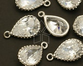 ZC-123-OR / 2 Pcs - Vintage Cubic Zirconia Pear Drop (S-size), with Silver Plated Frame / 8.5mm x 14mm