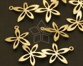 PD-327-MG / 2 Pcs - Flower Crown Pendant, Matte Gold Plated over Brass / 32mm x 18mm
