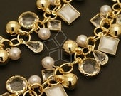 CH-072-GD / 20 cm - Chain Acrylic Charms and Beads, Gold Plated over Brass