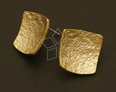 SI-107-MG / 4 Pcs - Leather Textured Earring Findings, Matte Gold Plated, with .925 Sterling Silver Post / 17mm x 17mm
