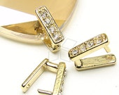 PS-010-GD / 2 Pcs - Cubic Square Bail for Necklace, Gold Plated over Brass / 10mm