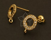 SI-485-GD / 2 Pcs - Jewel Ring Earring Findings, Gold Plated, with .925 Sterling Silver Post / 9mm x 12mm